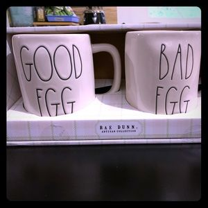 Rae Dunn Good Egg and Bad Egg mug set